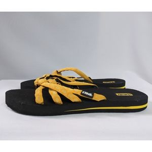 Teva Yellow & Black Slide On Flip Flop Sandals 10